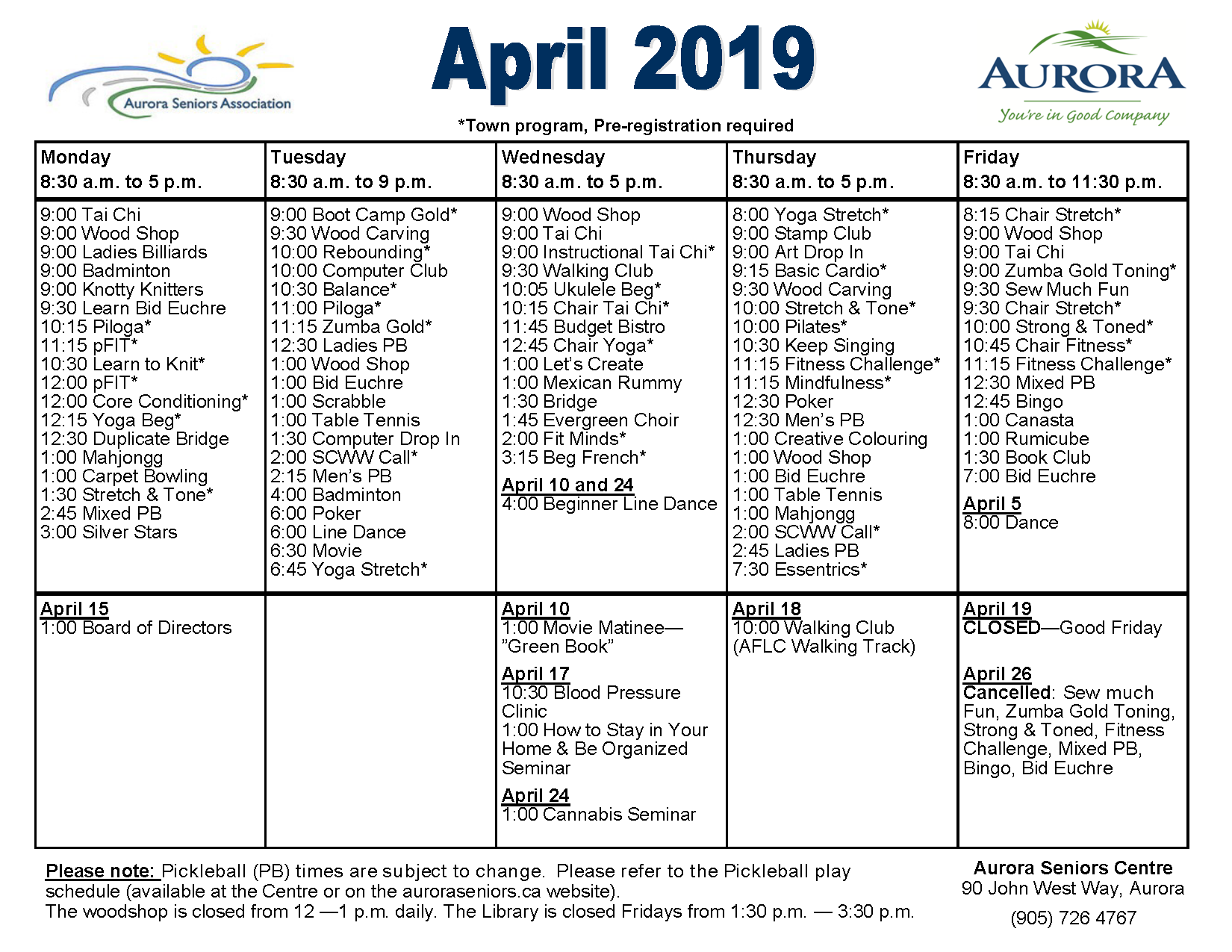 Calendar Of Events At The Aurora Seniors Centre Aurora